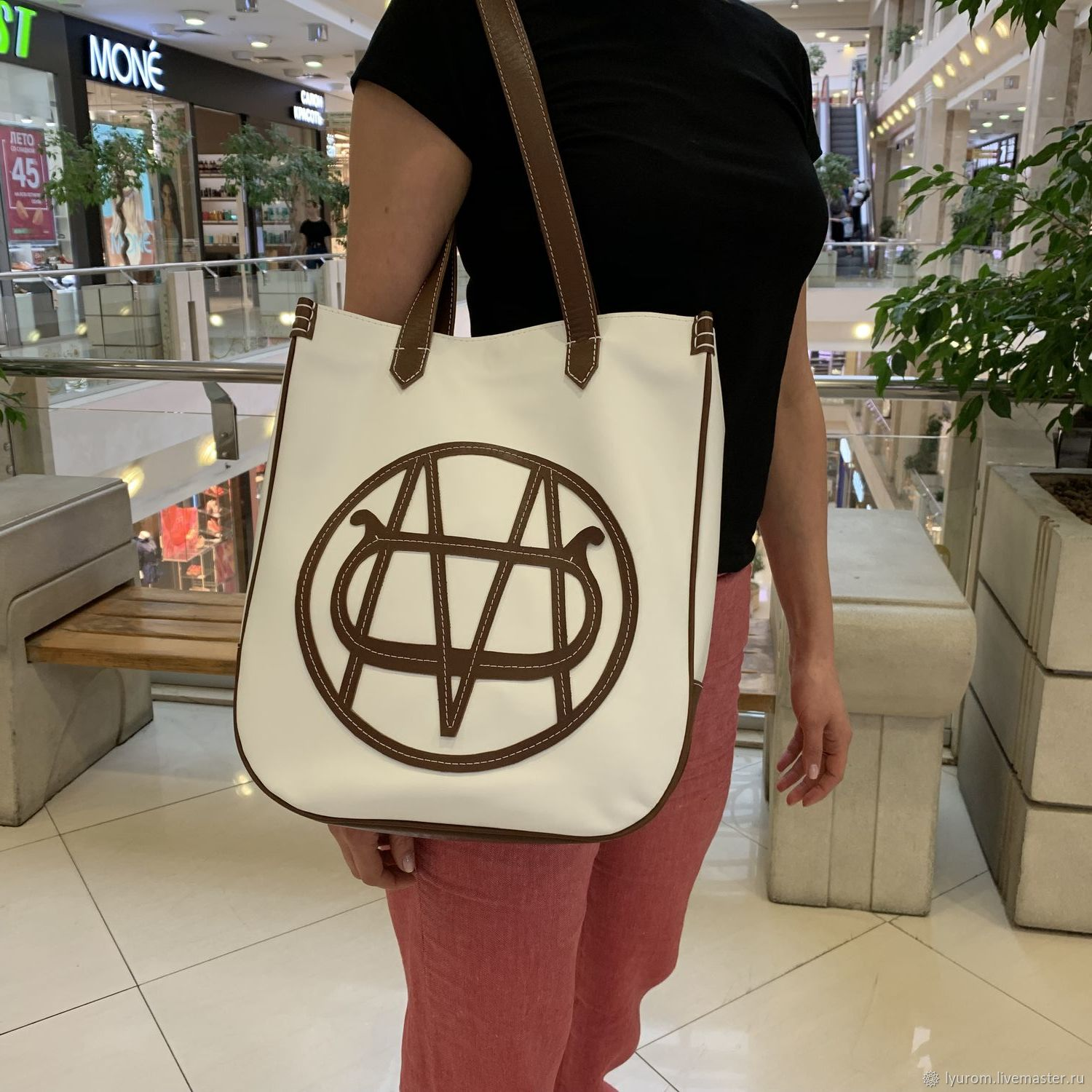 Genuine leather shopper bag with logo, Classic Bag, Moscow,  Фото №1