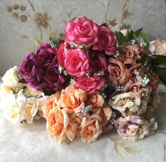 Материалы для флористики ручной работы. Ярмарка Мастеров - ручная работа. Купить Розы винтажные букет. Handmade. Комбинированный, искусственные цветы