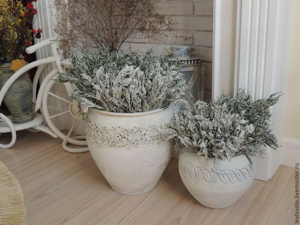 крынка белая ваза напольная для интерьера в шебби, Вазы, Таганрог,  Фото №1
