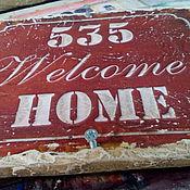 Картины и панно ручной работы. Ярмарка Мастеров - ручная работа Табличка 20х15 деревянная дверная в стиле ЛОФТ_Welcome Home. Handmade.