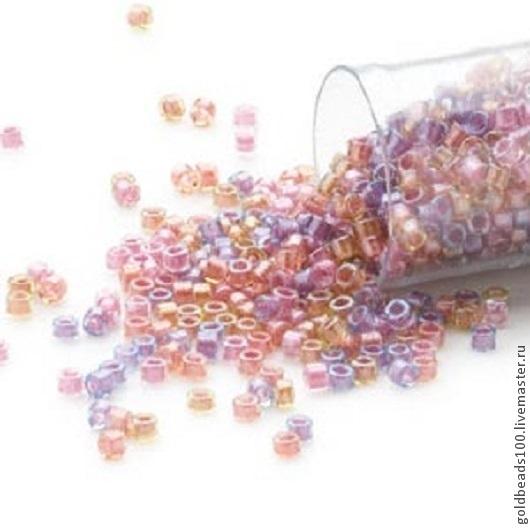 Для украшений ручной работы. Ярмарка Мастеров - ручная работа. Купить 10 ГР MIYUKI DELICA 11/0 DB982 color-lined mix purple and salmon 10gr. Handmade.