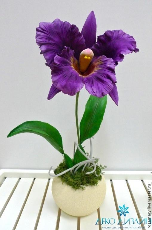 Цветы ручной работы. Ярмарка Мастеров - ручная работа. Купить Орхидея Каттлея. Handmade. Тёмно-фиолетовый, цветок, deco
