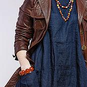 Одежда ручной работы. Ярмарка Мастеров - ручная работа Бохо платье 4-17 индиго. Handmade.