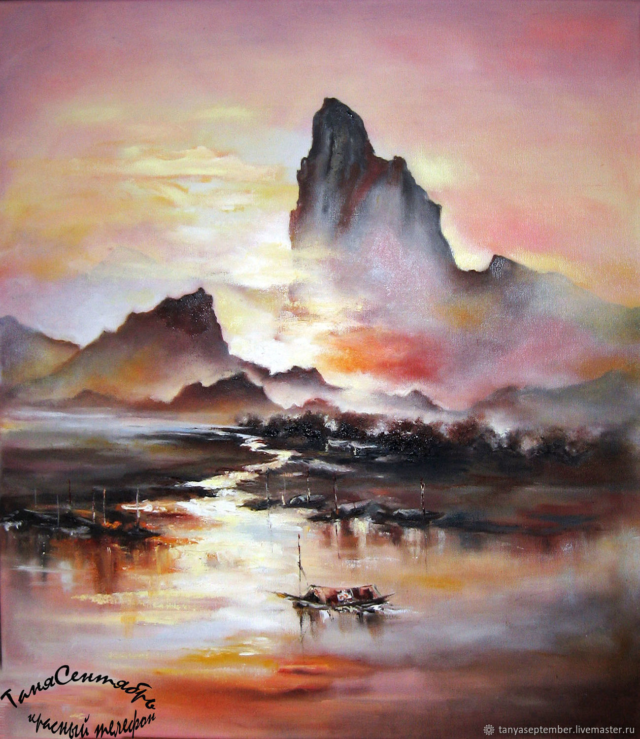 Painting landscape sunset oil on canvas FISHING BOATS AT SUNSET, Pictures, Moscow,  Фото №1