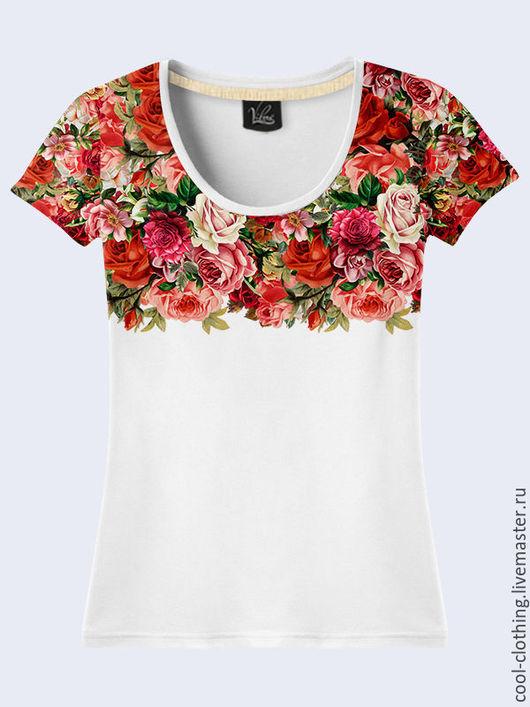 """Футболки, майки ручной работы. Ярмарка Мастеров - ручная работа. Купить Женская футболка """"Цветы"""" белая. Handmade. Рисунок"""
