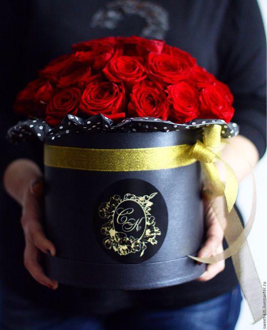 Букеты ручной работы. Ярмарка Мастеров - ручная работа. Купить Розы в шляпной коробке. Handmade. Букет, букет из живых цветов