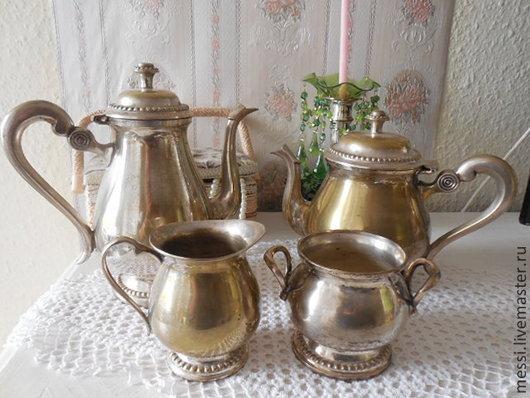 Винтажная посуда. Ярмарка Мастеров - ручная работа. Купить Кофейно/чайный сервиз посеребрение, латунь, для декупажа. Handmade. Серебряный, Декупаж