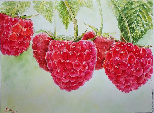 """Пейзаж ручной работы. Ярмарка Мастеров - ручная работа. Купить """" Малина - ягода  """". Handmade. Ярко-красный, картина"""