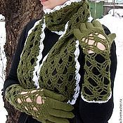 Аксессуары handmade. Livemaster - original item Fishnet set (gloves, scarf).. Handmade.