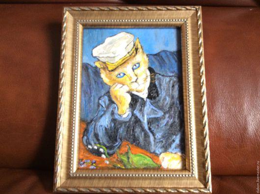 Животные ручной работы. Ярмарка Мастеров - ручная работа. Купить Картина в подарок Доктор Гаше. Handmade. Голубой, берет