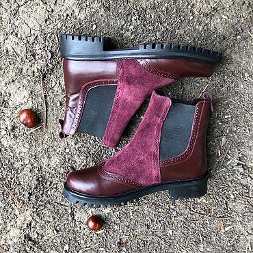 Обувь ручной работы. Ярмарка Мастеров - ручная работа Челси «бордо кожа/бордо замша». Handmade.