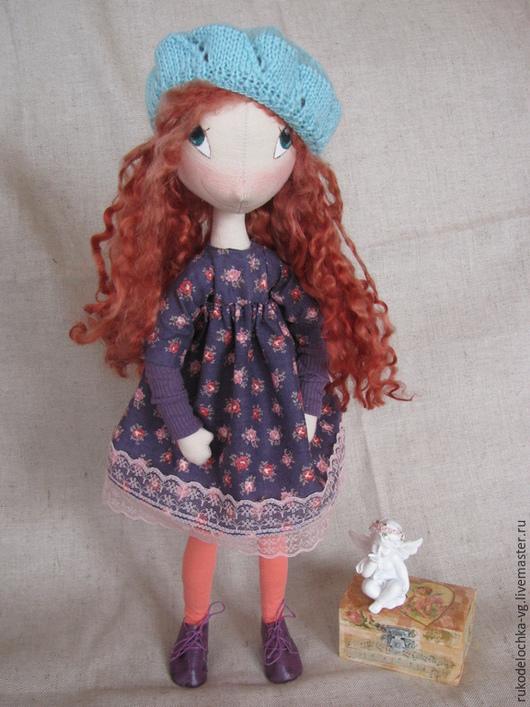 Коллекционные куклы ручной работы. Ярмарка Мастеров - ручная работа. Купить Милена. Handmade. Фиолетовый, кукла текстильная, вязаные аксессуары