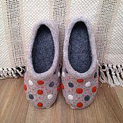 """Обувь ручной работы. Ярмарка Мастеров - ручная работа Тапочки домашние """"В горох"""". Handmade."""