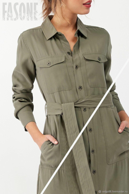 Платье-рубашка цвета хаки Премиум ткань, Платья, Москва,  Фото №1