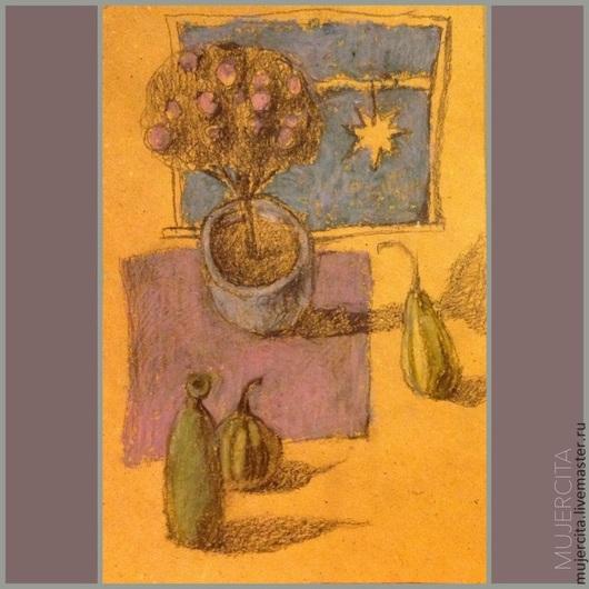 """Натюрморт ручной работы. Ярмарка Мастеров - ручная работа. Купить Картинка """"Натюрморт с тыквами"""". Handmade. Желтый, открытка, графика, звезда"""