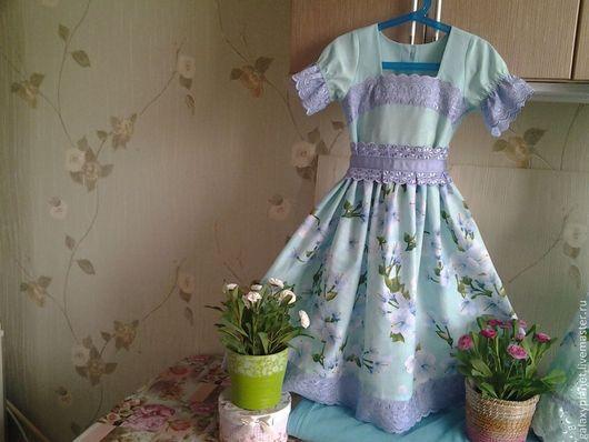 Одежда для девочек, ручной работы. Ярмарка Мастеров - ручная работа. Купить Платье мятный жасмин с синим шитьем для девочки. Handmade.