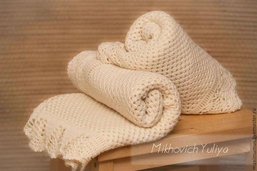 Пледы из шерсти мериноса,подарок на рождение,выписку,Крестины.
