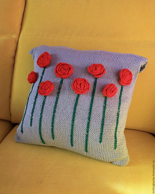 """Текстиль, ковры ручной работы. Ярмарка Мастеров - ручная работа. Купить Вязаный чехол на подушку """"Цветочная поляна"""". Handmade. Комбинированный"""
