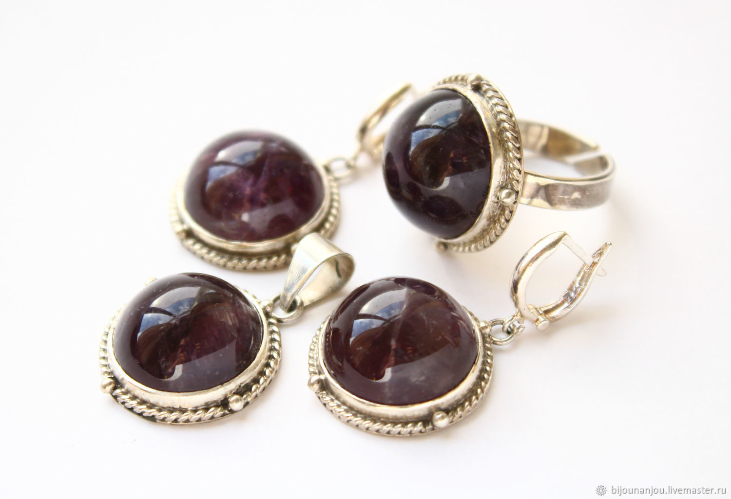 Earrings, ring and pendant of 925 silver and amethysts, Jewelry Sets, Yerevan,  Фото №1