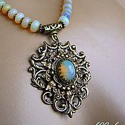 handmade. Livemaster - original item Vintage style. opals. Necklace