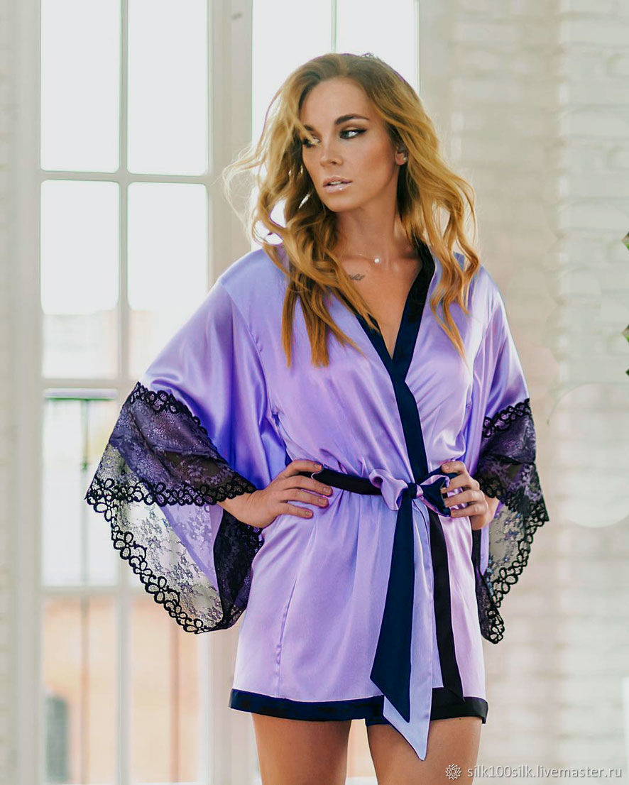 Kimono robe 100% natural silk color Lavender. Bathrobe as a gift, Robes, St. Petersburg,  Фото №1