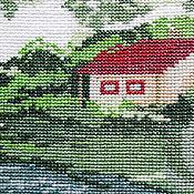 Картины и панно ручной работы. Ярмарка Мастеров - ручная работа В краю родном, вышитая картина без оформления, сельский пейзаж, яблоки. Handmade.