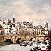 Картины и панно ручной работы. Ярмарка Мастеров - ручная работа Париж Фото картина Городской пейзаж «Вдоль реки с облаками». Handmade.