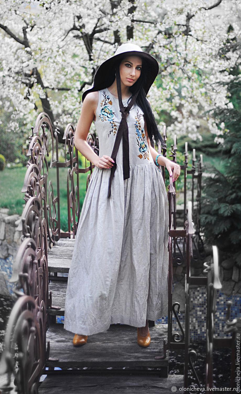 Long linen sundress with embroidery'.', Dresses, Vinnitsa,  Фото №1