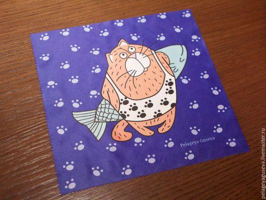 """Очки ручной работы. Ярмарка Мастеров - ручная работа. Купить Протирка для очков и техники """"Кот"""". Handmade. Разноцветный, протирка"""