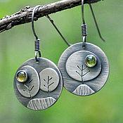 Украшения handmade. Livemaster - original item Earrings Trees (925 silver, citrine, chrysolite). Handmade.