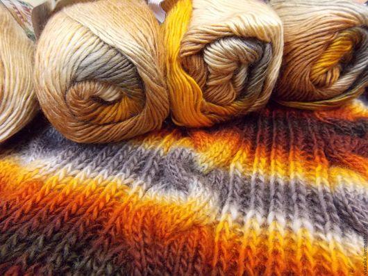 Вязание ручной работы. Ярмарка Мастеров - ручная работа. Купить Пряжа Магик Файн - в оранжево-бежевых тонах. Handmade.