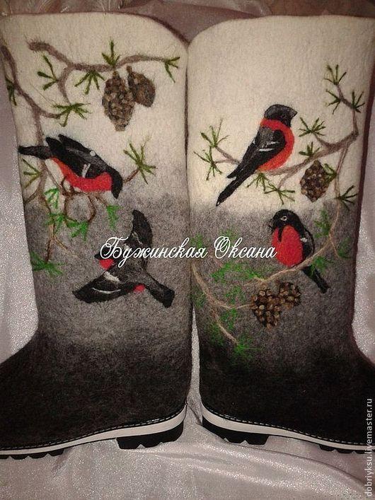 """Обувь ручной работы. Ярмарка Мастеров - ручная работа. Купить Валенки """"Зима"""". Handmade. Валенки, серый цвет, рисунок, снегирь"""