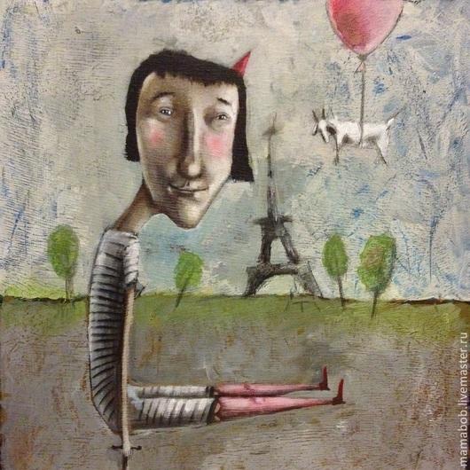 Люди, ручной работы. Ярмарка Мастеров - ручная работа. Купить Весна в Париже. Handmade. Картина, оргалит, акрил, девушка, цирк