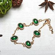 Украшения handmade. Livemaster - original item Bracelet in gold with green crystals