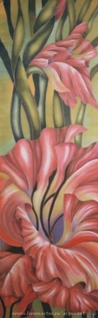 """Шали, палантины ручной работы. Ярмарка Мастеров - ручная работа. Купить Шарф-батик """"Гладиолус"""". Handmade. Натуральный шелк, цветочный"""