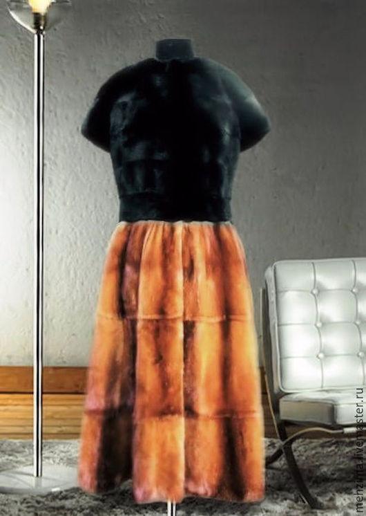 Верхняя одежда ручной работы. Ярмарка Мастеров - ручная работа. Купить Норковая шуба жилет с юбкой из золотистой норки. Handmade.