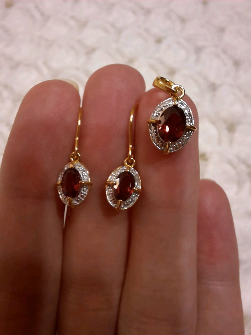Charlize-earrings and pendant in gold with red garnets, Jewelry Sets, Moscow,  Фото №1