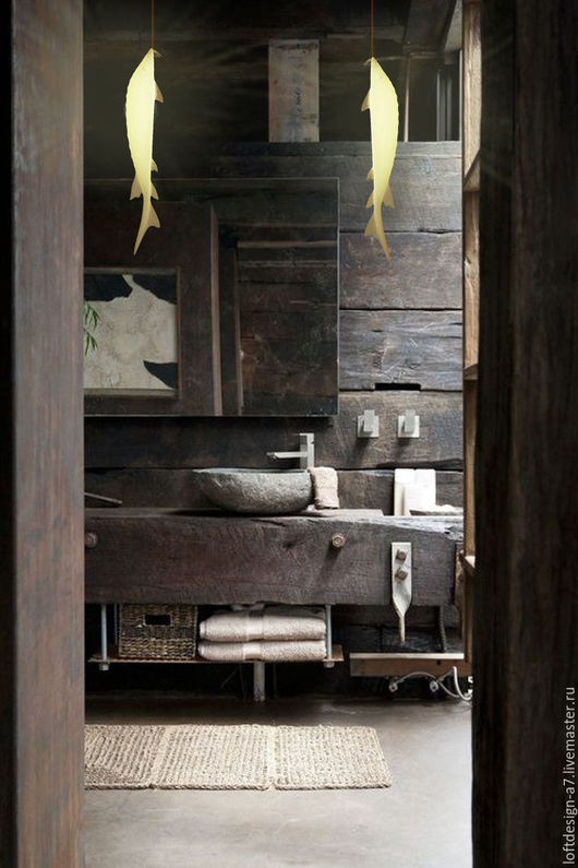 Дизайн интерьеров ручной работы. Ярмарка Мастеров - ручная работа. Купить Санузел из старинных балок. Handmade. Серый, золотой