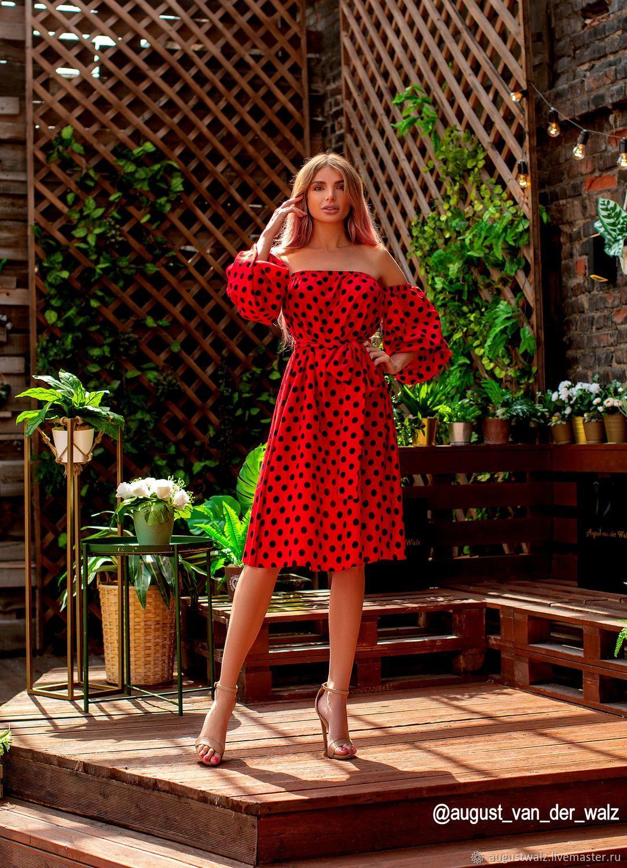 Платья ручной работы. Ярмарка Мастеров - ручная работа. Купить Летнее платье в горох. Handmade.