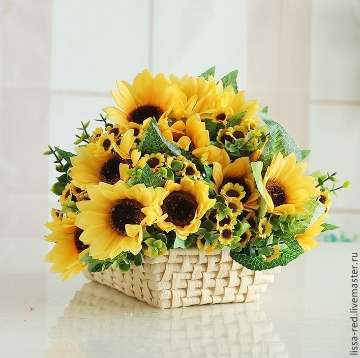 Купить цветы из подсолнуха дешовые живые цветы