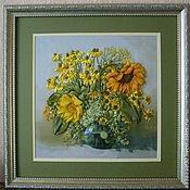 """Картины и панно ручной работы. Ярмарка Мастеров - ручная работа Картина вышитая лентами """"Желтые цветы"""". Handmade."""