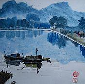 Картины и панно ручной работы. Ярмарка Мастеров - ручная работа Лодки на озере. Пейзаж в синих тонах.. Handmade.