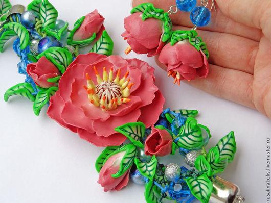 """Комплекты украшений ручной работы. Ярмарка Мастеров - ручная работа. Купить Комплект """"Нежность весны"""". Handmade. Розовый, браслет из пластики"""