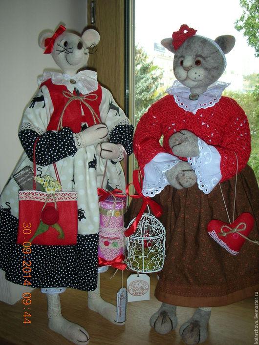 Игрушки животные, ручной работы. Ярмарка Мастеров - ручная работа. Купить Кошки-мышки. Handmade. Ярко-красный, мышка валяная