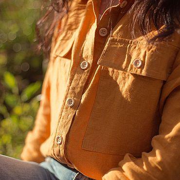 Одежда ручной работы. Ярмарка Мастеров - ручная работа Льняная рубашка «Клён». Handmade.