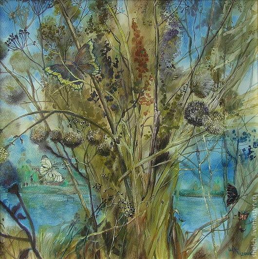 осень осенний букет травы бабочка бабочки пейзаж ручной работы осенний букет акварель акрил карандаш осенний пейзаж ясная осень золотая осень картина осенняя разнотравье пейзаж с водой река