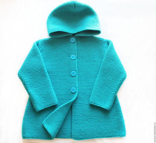 """Одежда для девочек, ручной работы. Ярмарка Мастеров - ручная работа. Купить Пальто """"Бирюза"""" с капюшоном. Handmade. Тёмно-бирюзовый"""