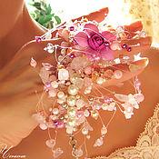 Свадебный салон ручной работы. Ярмарка Мастеров - ручная работа Воздушный розовый браслет с фиолетовым цветком. Handmade.