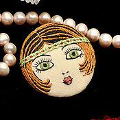 Украшения ручной работы. Ярмарка Мастеров - ручная работа Брошь Flapper Girl куколка рыжая зеленая / брошь лицо камея. Handmade.