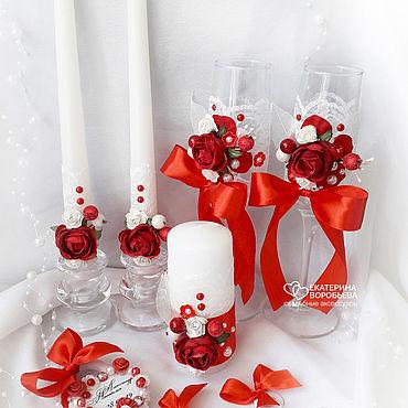 Свадебный салон ручной работы. Ярмарка Мастеров - ручная работа Свадебный набор аксессуаров красный с цветами и кружевом. Handmade.